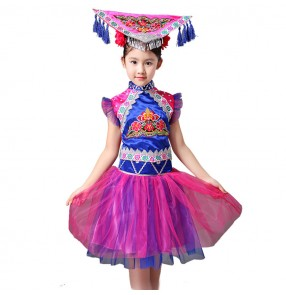 Kids china ancient traditional chinese folk dance costumes violet miao hmong dance dresses drama cosplay dance costumes